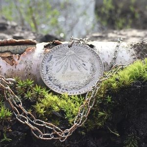 Vintage Jewelry - Vintage Engraved Mexican Peso Necklace